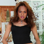 Thalia. Very petite, but definitely is filled with lots of sexual energy. This tranny packs a punch!